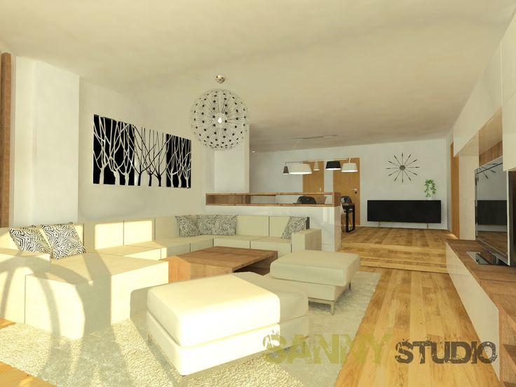 Návrh interiéru spoločenskej časti rodinného domu pre mladý pár z Nitry