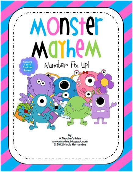 Monster Mayhem Number Fix Up- Cotton Candy Theme-This is a bright and colourful number card set based on both a monster and cotton candy theme. It consists of posters featuring monsters bearing the numbers from 1 to 10. It also contains student cards with individual number representations i.e. number, word name, pictures and dots. This is a perfect addition to your bulletin board themes and your math centres. It also makes a bright addition to a student-friendly environment.