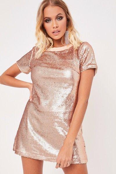 ec34a950e3 Annalise Rose Gold Sequin T-Shirt Dress