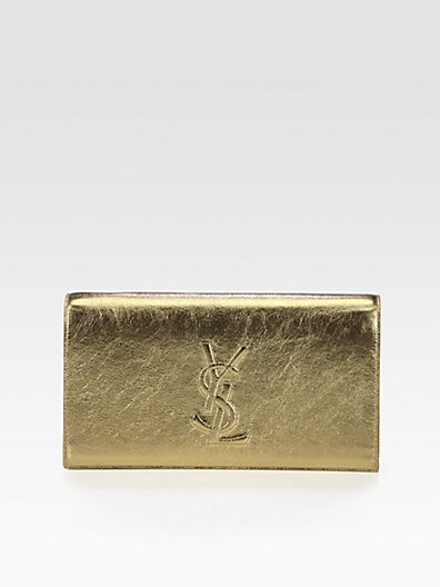 Saint Laurent Belle De Jour Metallic Leather Clutch - Saks.com | clutch it!