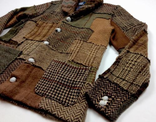 Wood Knit Sweater Men Patchwork Ralph Lauren Tweed Shawl Polo Rj5Lq34A