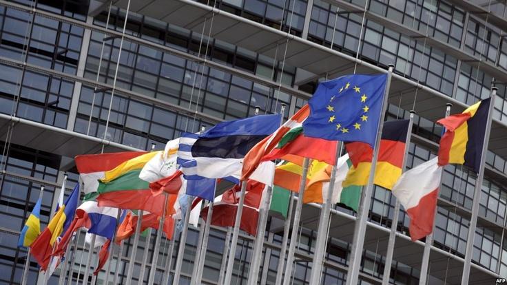 European flags at European Parliament