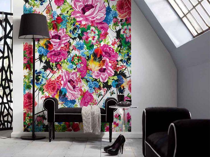 Fototapet floral Romantic Pop  - o pată de culoare în amenajare.