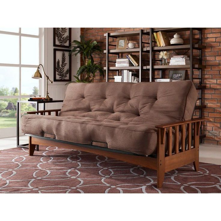 Simmons Seattle Futon Frame with 6 in. Beauty Sleep Mattress | from hayneedle.com