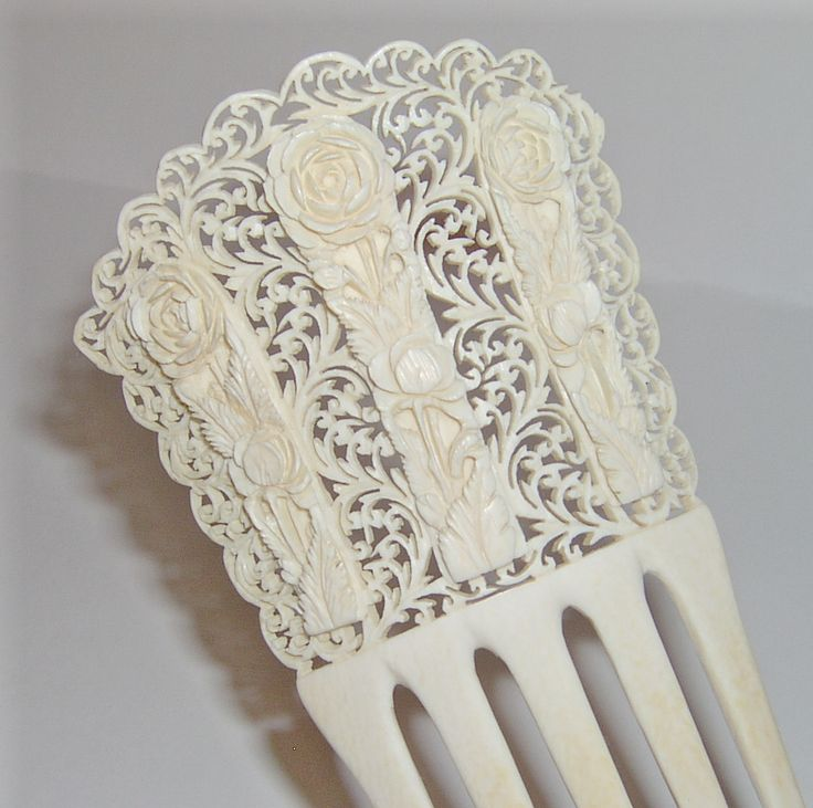 Ivory comb vintage hair combs pinterest carving