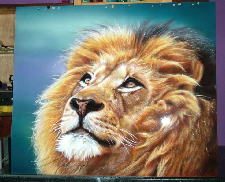 Lion airbrush work #art #design #draw #drawing #airbrush #airbrushing #almaty #painting #creative #paint #iwata#color #illustrations #neon