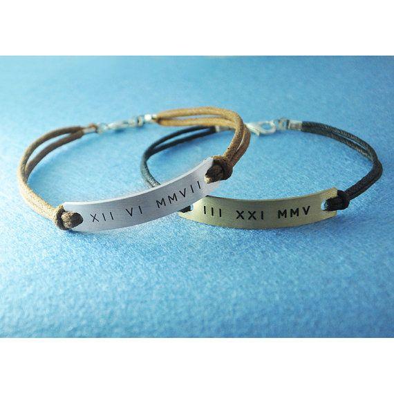 Custom Couples Bracelet Customized Roman Numeral by ZXBjewelry