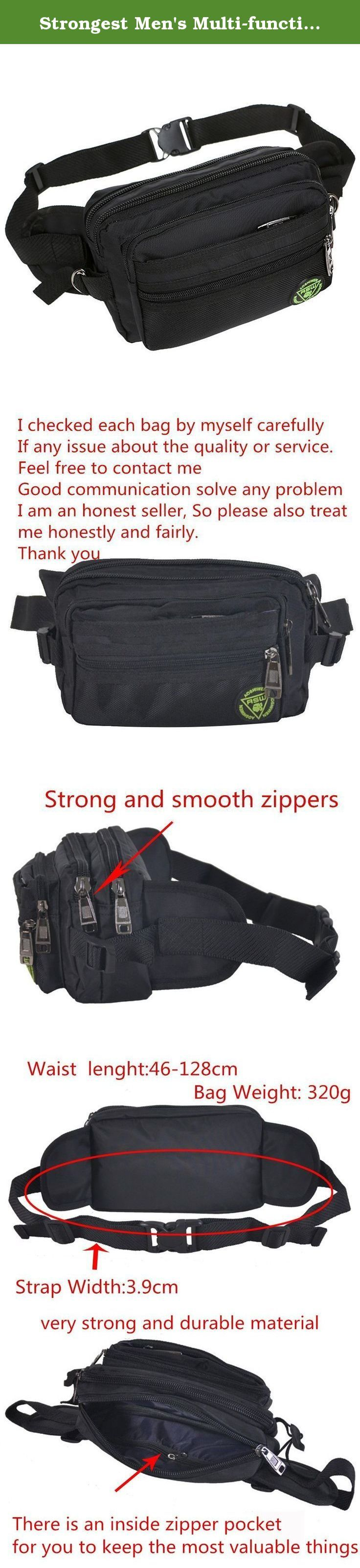 Strongest Men's Multi-functional Waist Pack Waist Bag Fanny Bag for Hiking Camping,Travel and other Outdoor Activities (Black). Durable nylon and fine workmanship,great bag for carrying personal stuffs,such as wallets,keys,cell phone and small automatic umbrella,best organizer for travelling and sports.The multiple zippers design makes it neat and keep your things at hand.Outdoor activities and leisure use. If there is any question, please feel free to contact us, Good communication is…