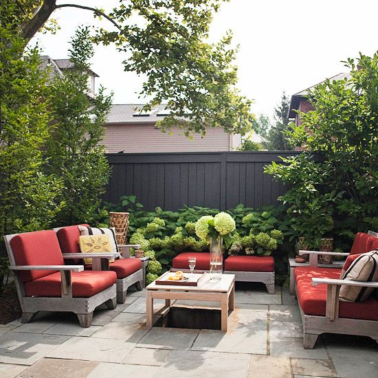 PatiosPrivacy Fence, Landscapes Ideas, Seats Area, Backyards Fence Gardens, Backyards Ideas, Outdoor Living Rooms, Patios, Outdoor Spaces, Backyards Living Spaces