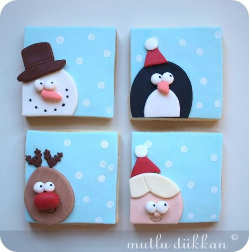 Christmas fondant cookies- so cute! You could also take small canvases and paint the background and then use felt and stuff for the faces? Cute Decor!