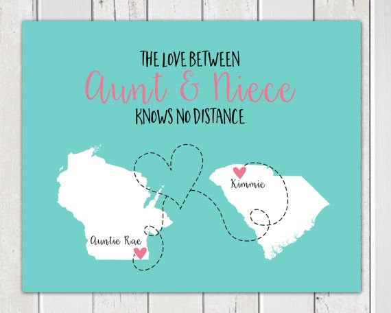 Long Distance Aunt, Mothers Day Gift for Aunt, Custom Map Art Print, Family…