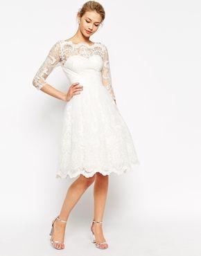 Enlarge Chi Chi London Premium Lace Midi Prom Dress with Bardot Neck