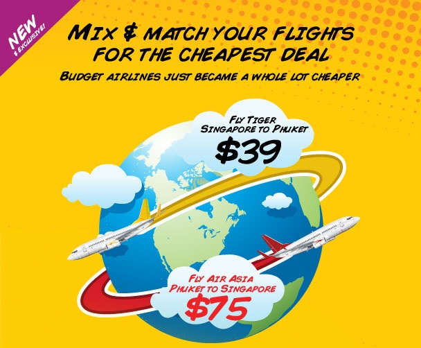 Mix and match your flights to get the cheapest price. CheapTickets.sg mixes and matches budget airline fares to find the cheapest return fares. Find return flights from Singapore to Phuket with Tiger and Air Asia for only $104.