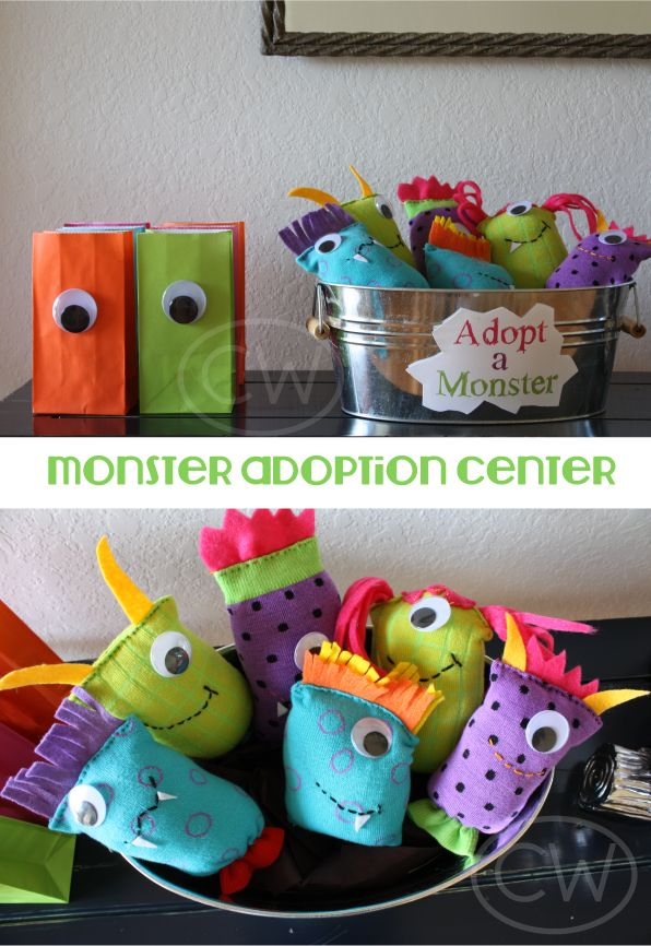 Monster Party - adopt a monster from colorful knee high socks, felt & wiggly eye and colorful take home bags with wiggly eye