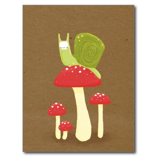 Green snail on red speckled mushrooms