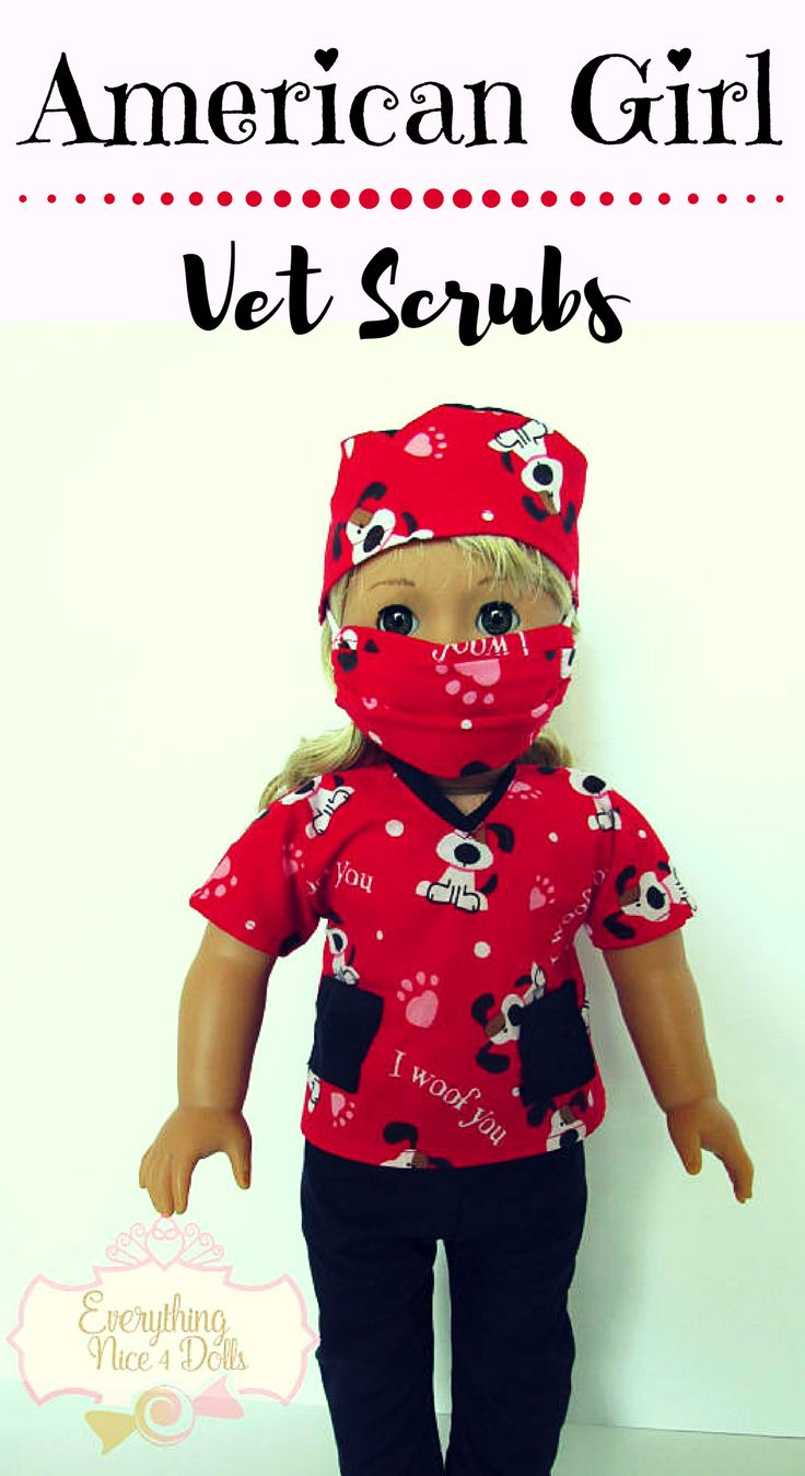 Valentine Hearts Dogs Pet Vet Scrubs, fits 18 inch dolls like American Girl Dolls, red scrubs top, black pants, mask, hat, handmade scrubs #americangirl #18inchdoll #affiliate #dollclothes #etsy