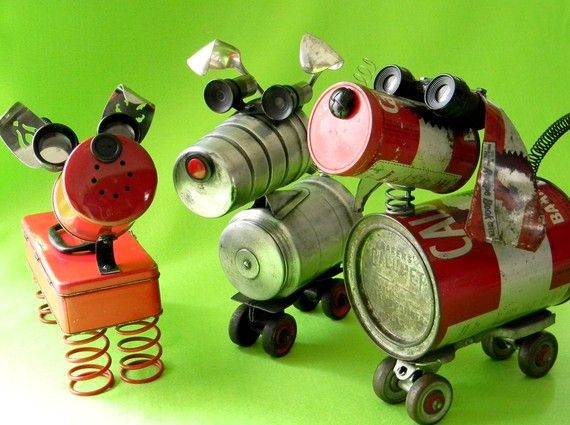 "Sculpture by Will Wagenaar. Wonderful recycled dog ""robots"" from reclaim2fame.etsy.com"