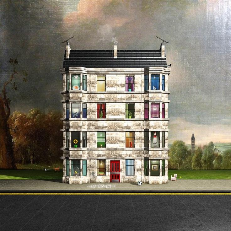 Saatchi Online Artist: Michael Murray; Computer Art, 2012, New Media Art Glasgow Tenements