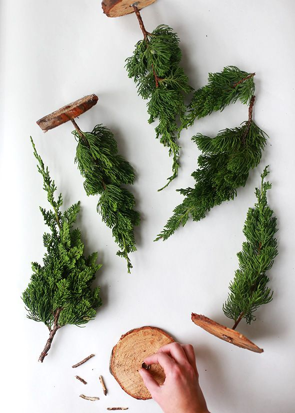 mini trees made from tree scraps