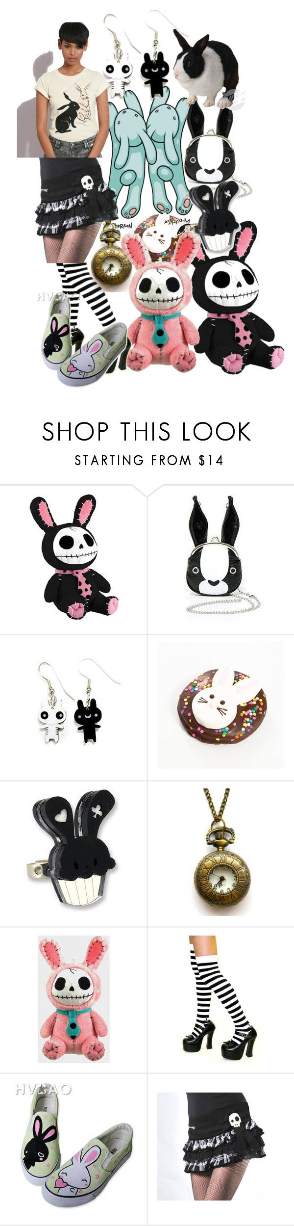 """""""Spring's all Hoppity!!"""" by lerp ❤ liked on Polyvore featuring Morn Creations, Dylan's Candy Bar, Sweet & Co., HVBAO, FC 72, over the knee socks, slip-on and rabbit"""