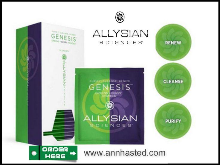Purify. Cleanse. Renew. Allysian Sciences Genesis Green + Berry Powder, a nutrient dense powerhouse. www.annhasted.com