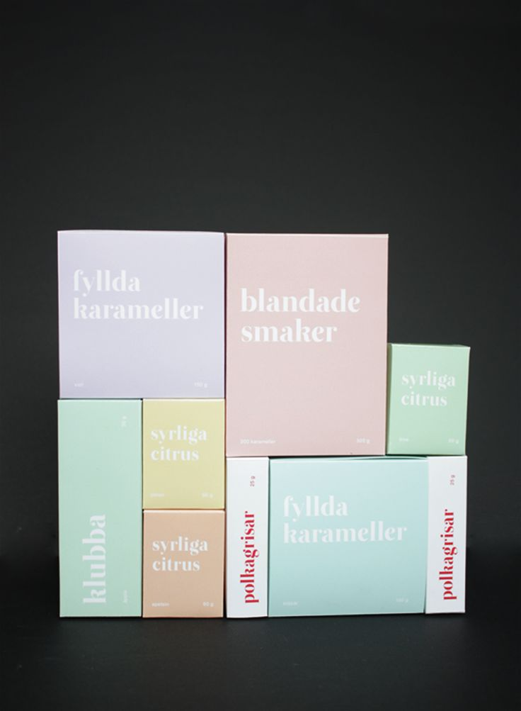 Packaging and graphic identity for a candy shop called Karamell.