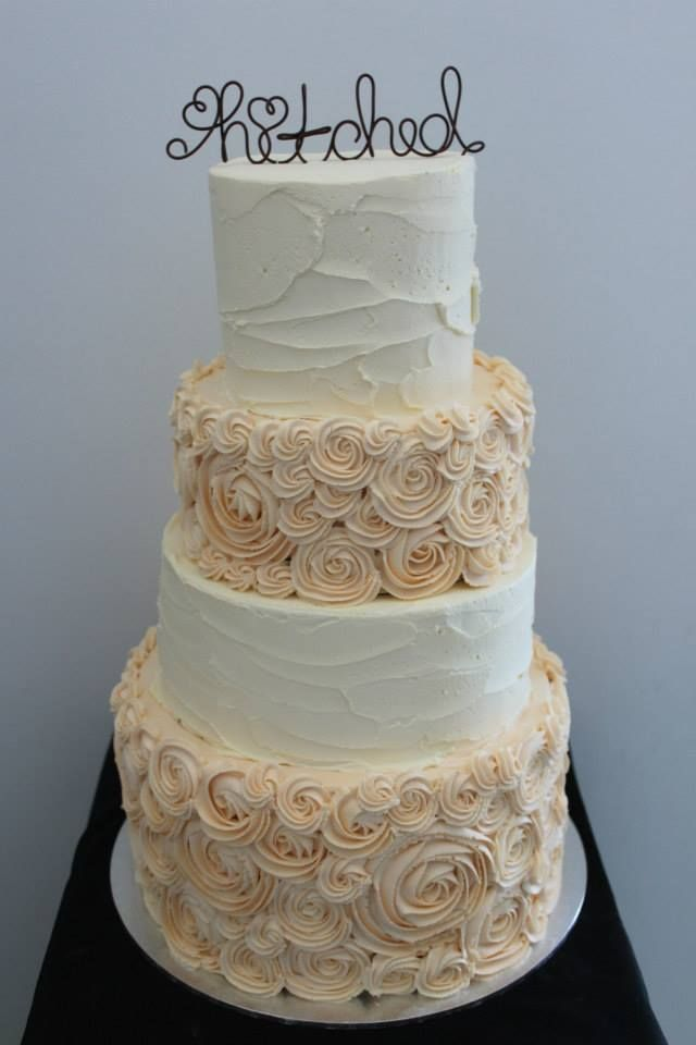 Rustic stucco buttercream with beautiful rosette piping