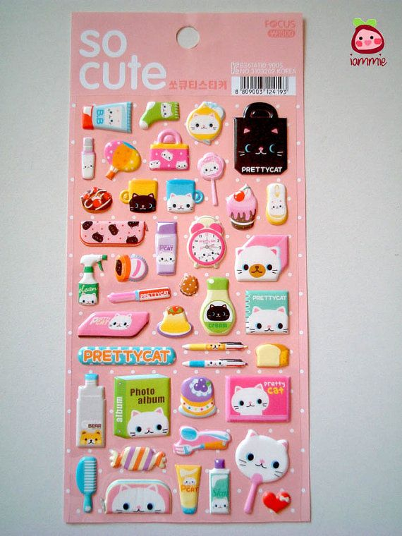 Cute Sticker, cat, kitten, kitty, Japan, Korea, girl, decoration, kawaii, pink, white, cake, little, tiny, card decoration, kid, children. $3,95 USD, via Etsy.