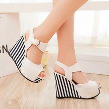 Nuevos zapatos del verano de las mujeres blancas de plataforma plana sandalias de tacón de cuña zapatos de tiras de tacón alto sandalias femeninas de plataforma sandalias 2016(China (Mainland))