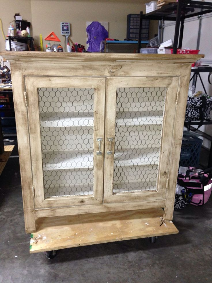 Cabinet With Chicken Wire Doors Colors Beige Black