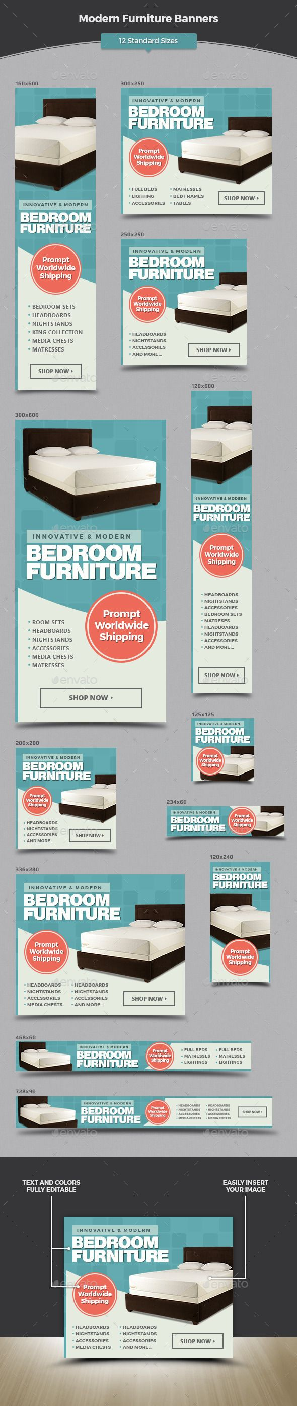 Modern Furniture Banners - Banners & Ads Web Elements