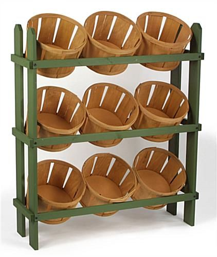 These wood basket displays include 9 baskets for organizing your ...