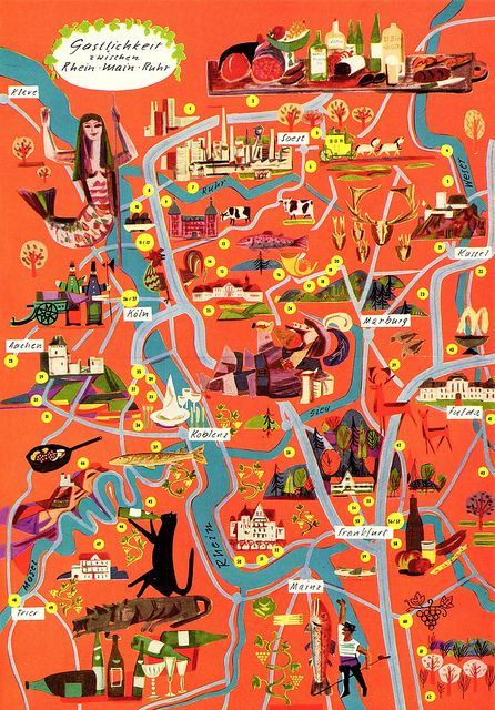 Fun pictorial map over the #Ruhr area (#Germany), by Volkmar Kötter