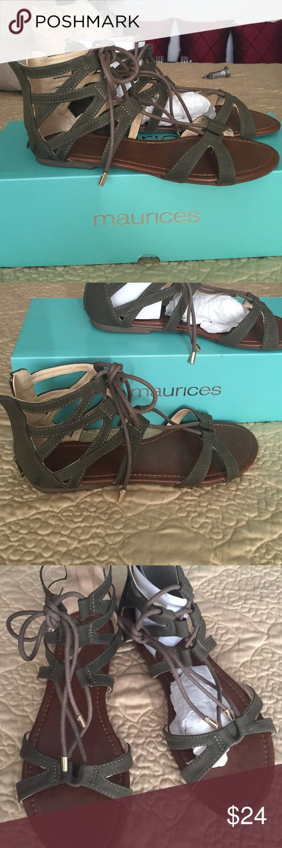 Gold Tip Laced Gladiator.  8. Mauruces NIB. Sage Green Gladiators. 8 Maurices Shoes Sandals