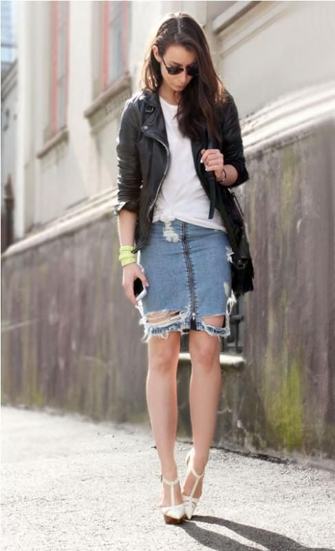 Denim Skirt And Jacket - Dress Ala