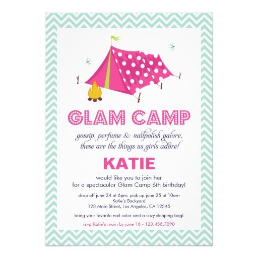 306 best girls birthday party invitations images on pinterest 1st glam camp makeover girls birthday invitation card stopboris Choice Image