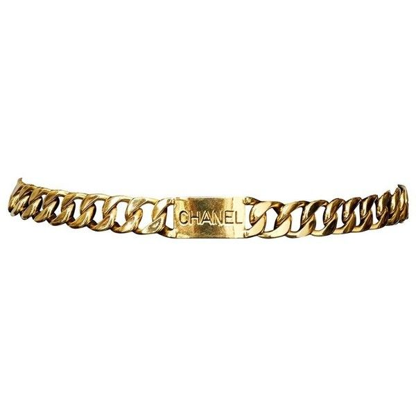 Preowned Chanel 14k Gold Chain Id Belt ($2,500) ❤ liked on Polyvore featuring accessories, belts, multiple, vintage gold belt, chanel, gold belt, gold chain belt and golden belt