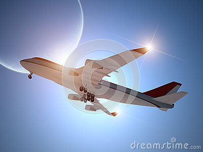 Airplane Taking off with Moon in the Sky by Enrico Giuseppe Agostoni, via Dreamstime