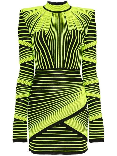 6804bd3524 Shop Balmain neon stripe mini dress