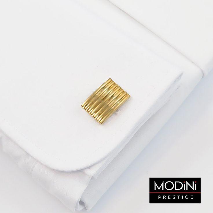 Złote spinki do mankietów z poziomymi liniami -https://modini.pl/28-spinki-do-mankietow