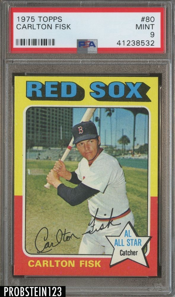 1975 Topps 80 Carlton Fisk Boston Red Sox Hof Psa 9 Razor Sharp Baseball Cards Baseball Cards For Sale Carlton