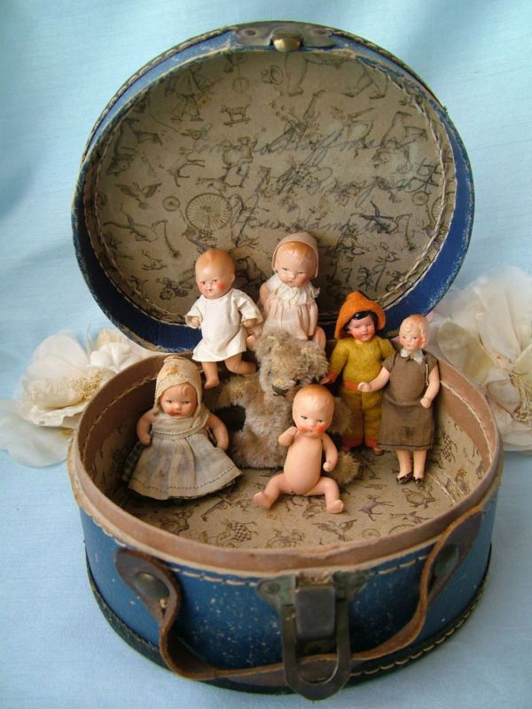 Antique Vtg German All Bisque Miniature Dollhouse Dolls