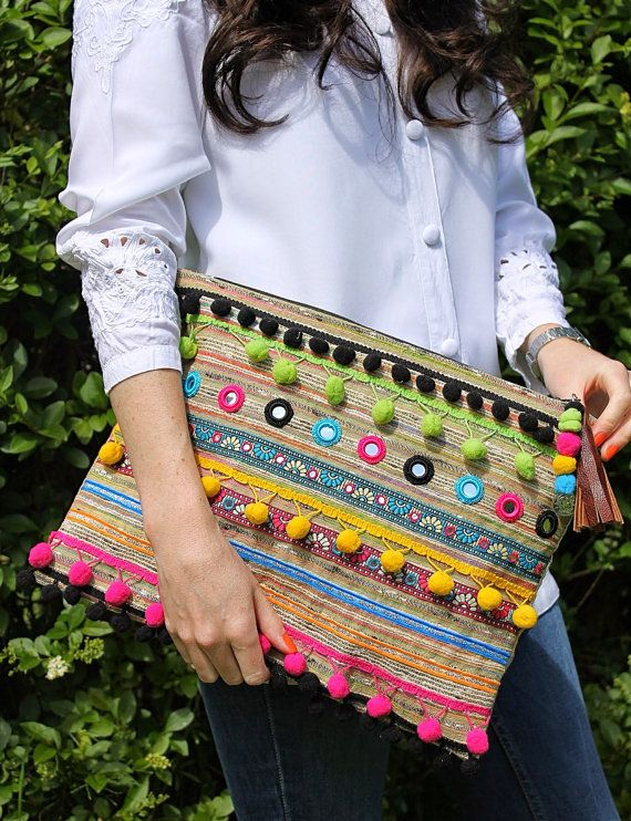 Oversized Ethnic Embellished Clutch Bag by RENIQLO on Etsy, £25.00