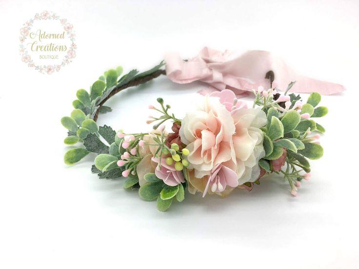 Blush Pink Flower Crown, flower crown, flower girl crown, flower wreath crown, mommy and me flower crown, newborn crown, girls flower crown