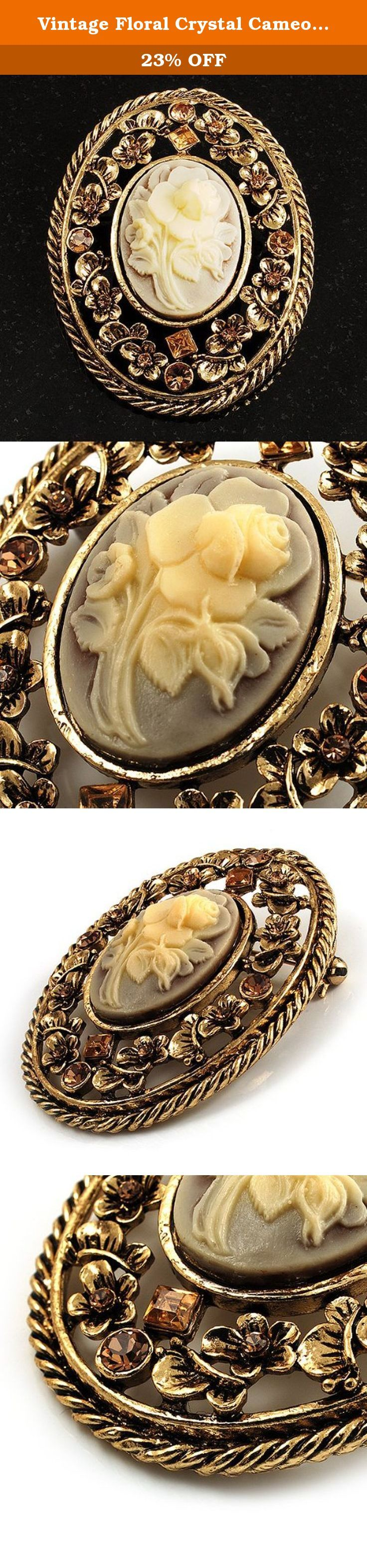 Vintage Floral Crystal Cameo Brooch (Antique Gold Finish). For a classic cameo lover, this Vintage Floral Crystal Cameo Brooch is the ticket. Featuring a romantic rose - shape flower crafted in the oval beige cornelian stone and set in the filigree crystal frame. The brooch made in antique gold finish offering a vintage look. It measures about 6cm x 4.8cm and fastens securely with a metal pin clasp. Cameo jewellery is truly classic and timeless in its appeal, so this stunning pin will make…