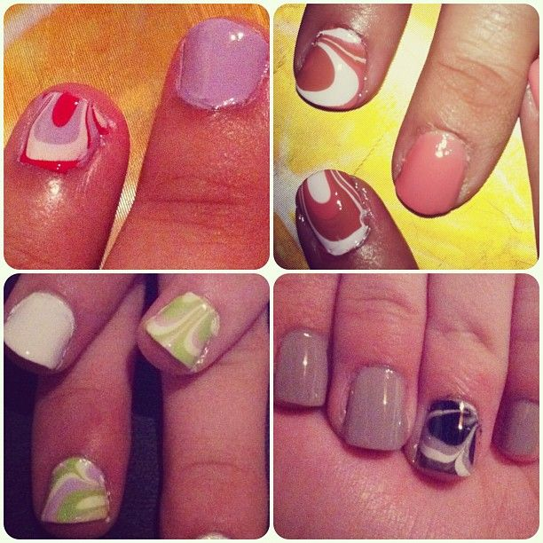 Water Nails/Photo by marielyvp on Instagram/ #nails #waternails /Tutorial: http://chloesnails.blogspot.com/2011/01/water-marble-picture-tutorial.html