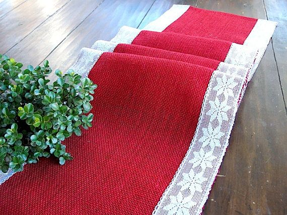 Burlap table runner Christmas table runner red by HotCocoaDesign, $25.99