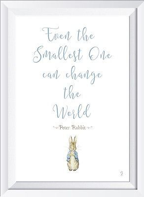 Peter Rabbit baby wordart print picture even the smallest gift christening quote