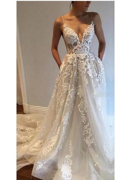 A-line Deep V Neck Spaghetti Strap Wedding Dresses ac103eaf6