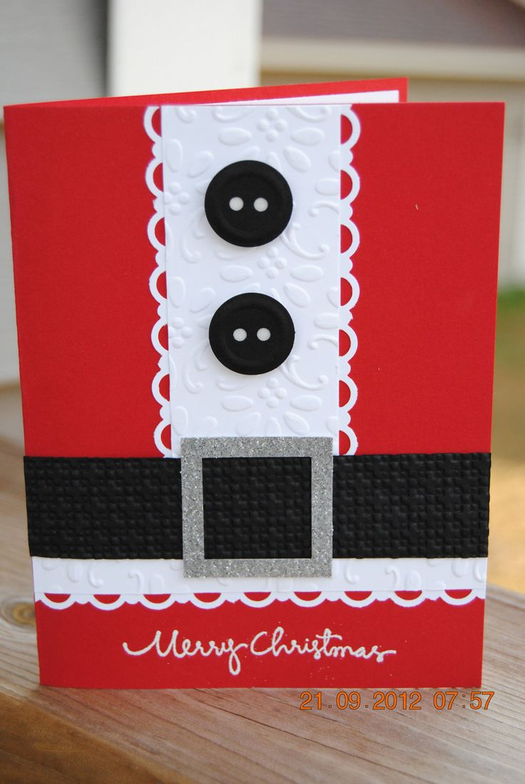 Ho ho ho! Strips of black and white paper, a couple of black buttons and a silver belt are all you need for this handmade Christmas card.